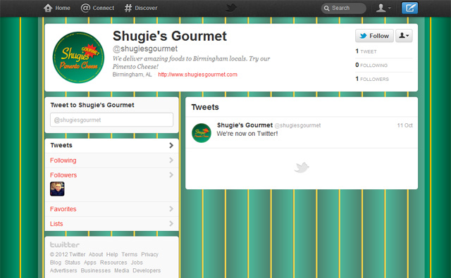 Shugie's Gourmet on Twitter, and example of Social Media Branding