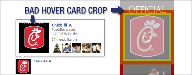Chick-fil-a has a Bad Hover Card Crop on their Facebook Profile Picture