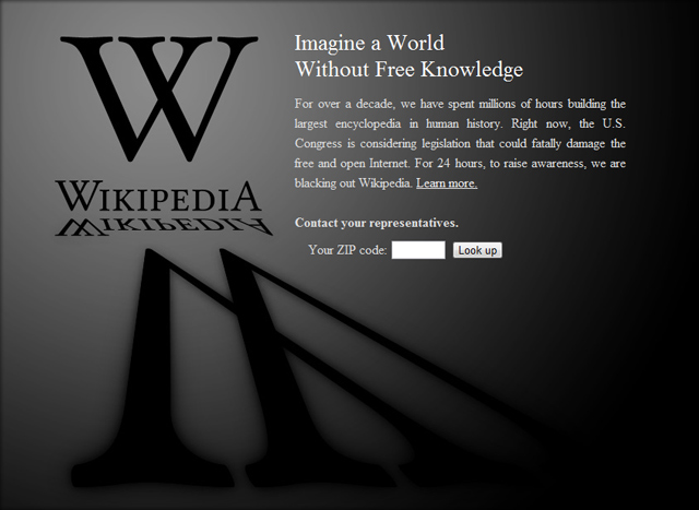 Wikipedia's blackout page to expose SOPA and PIPA
