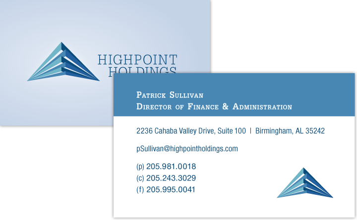 Business card graphic design for HighPoint Holdings by Birmingham, Alabama-based Huebris.