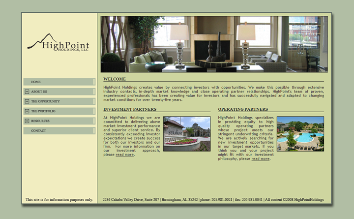 HighPoint Holdings Website Home Page