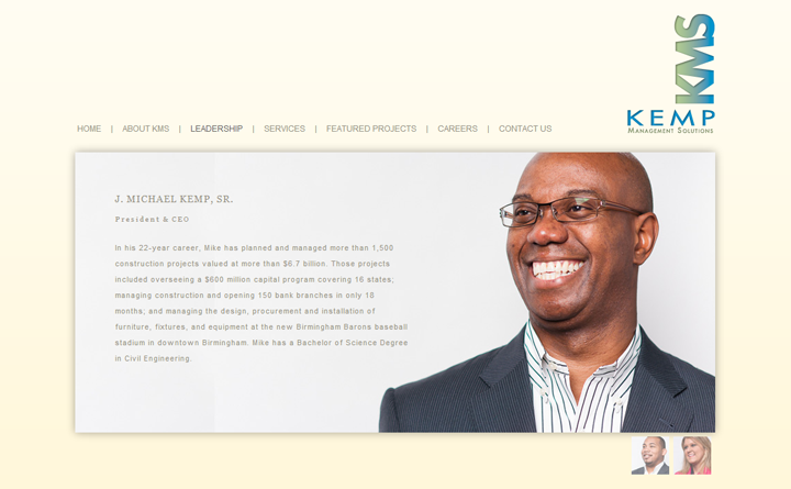 jQuery web design and development for Kemp Management Solutions in Birmingham, AL.
