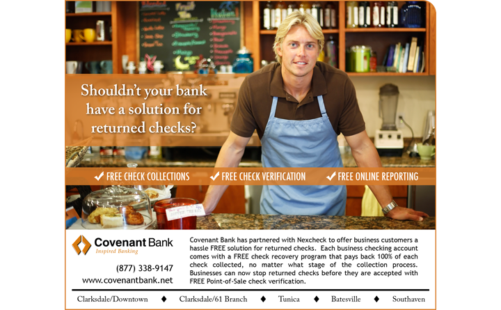 Nexcheck Newspaper Ad for Client Covenant Bank