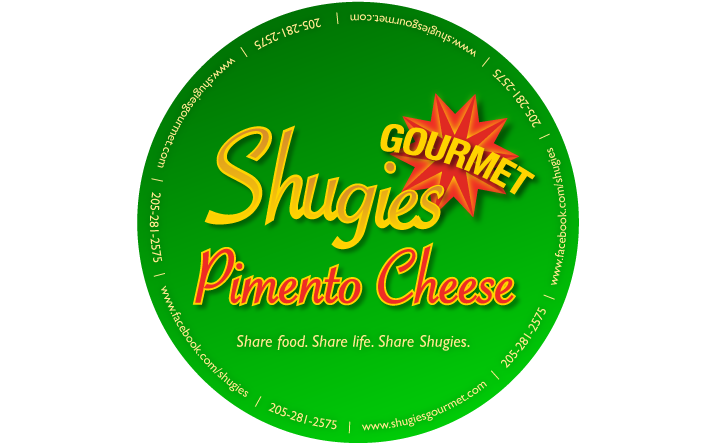 Logo design on label for Shugies Gourmet Pimento Cheese by Huebris.