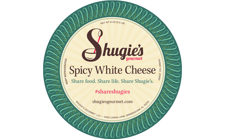 Food Packaging Label Design for Shugie's Gourmet Spicy White Cheese.