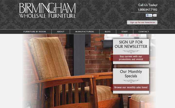 WordPress home page for Birmingham Wholesale Furniture created by Huebris.