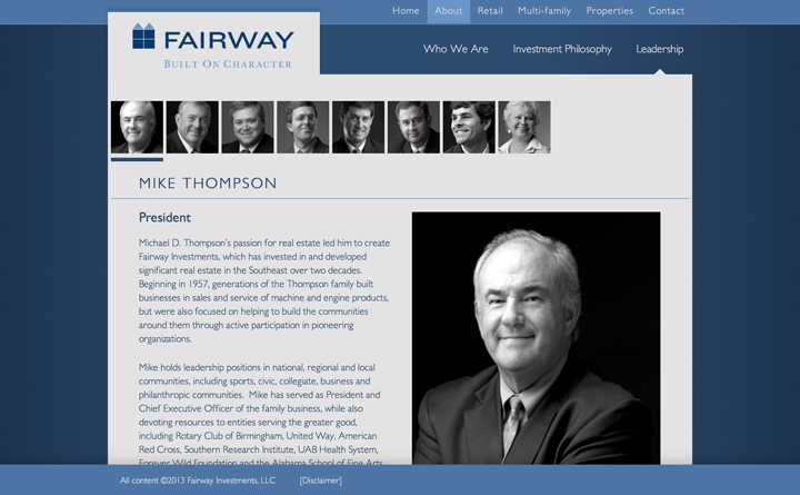 Leadership and Management custom post types support easy changes to the Fairway website in the WordPress backend.