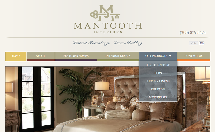 Huebris collaborated with Birmingham, AL-based Buxdat to develop this site for Mantooth Interiors in Homewood, Alabama.