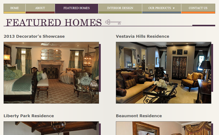 Showcased featured homes page for Mantooth Interiors. Honors elegant homes in Alabama and beyond.