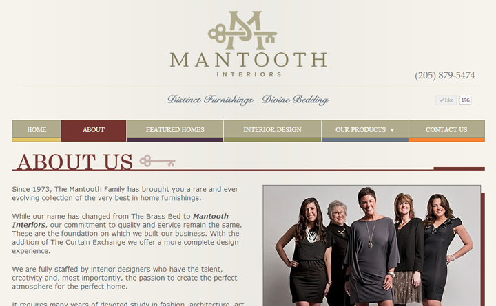 Web design sample from About Us page for Homewood, Alabama-based Mantooth Interiors.