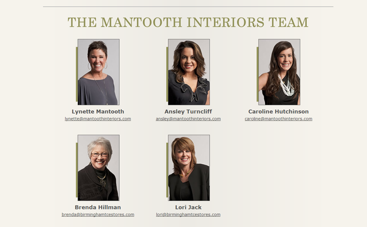 Web development example for Staff Contact page for Mantooth Interiors.