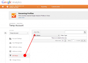 Visual Look at creating a new filter within an account on Google Analytics